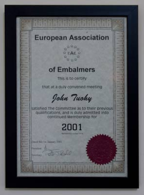 European Association of Embalmers John Tuohy Certificate