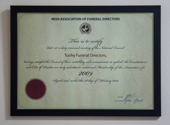 Irish Association of Funeral Directors Tuohy Funeral Directors Certificate